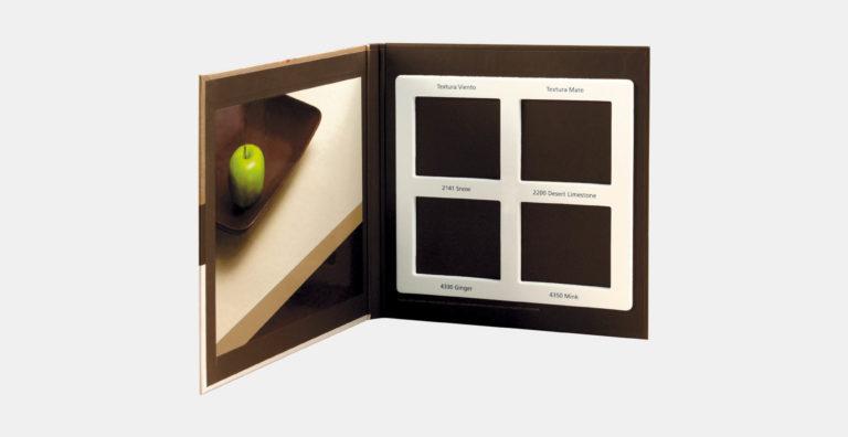 מארז דוגמאות ממותג בהתאמה אישית מקרטון קשיח עם מסגרת צורנית עבור 4 דוגמאות שיש למוצרי פרימיום