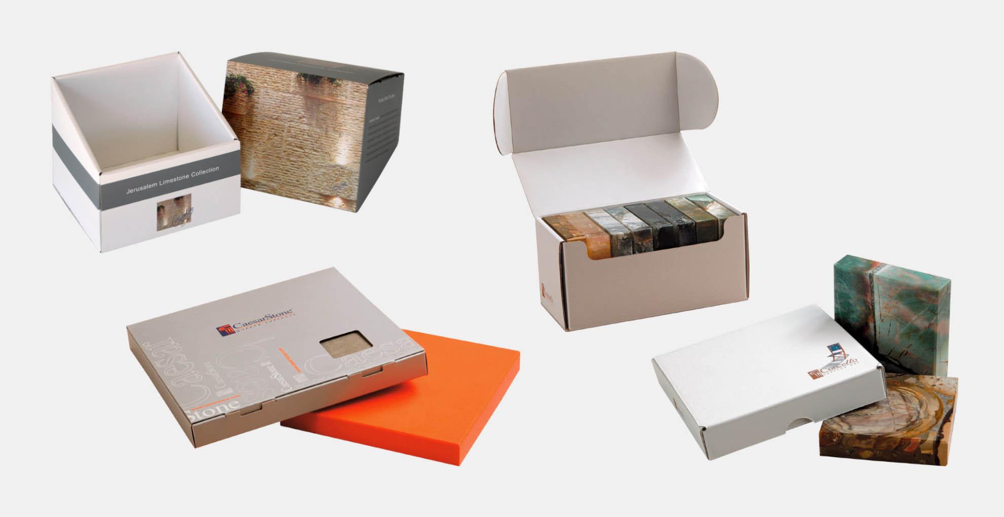 מארזים וקופסאות של דוגמאות ממותגות בהתאמה אישית, חיתוך צורני מקרטון גלי