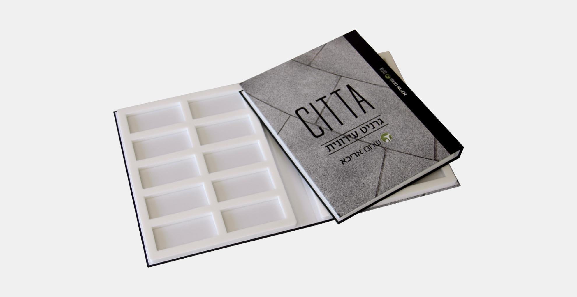 מארז דוגמאות ממותג בהתאמה אישית מקרטון קשיח דחוס עם מסגרת צורנית מספוג לבן עבור 20 דוגמאות מרצפות