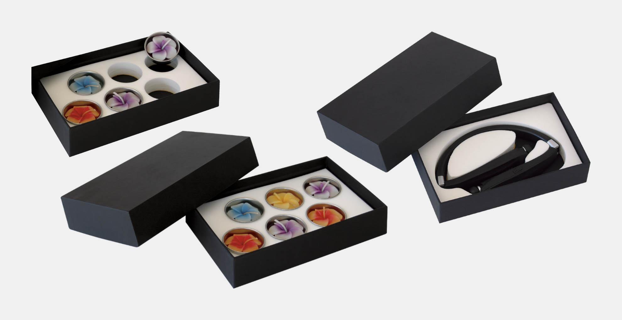 קופסא מארז דוגמאות ממותג בהתאמה אישית מקרטון קשיח דחוס עם מסגרת צורנית להצגת דוגמאות