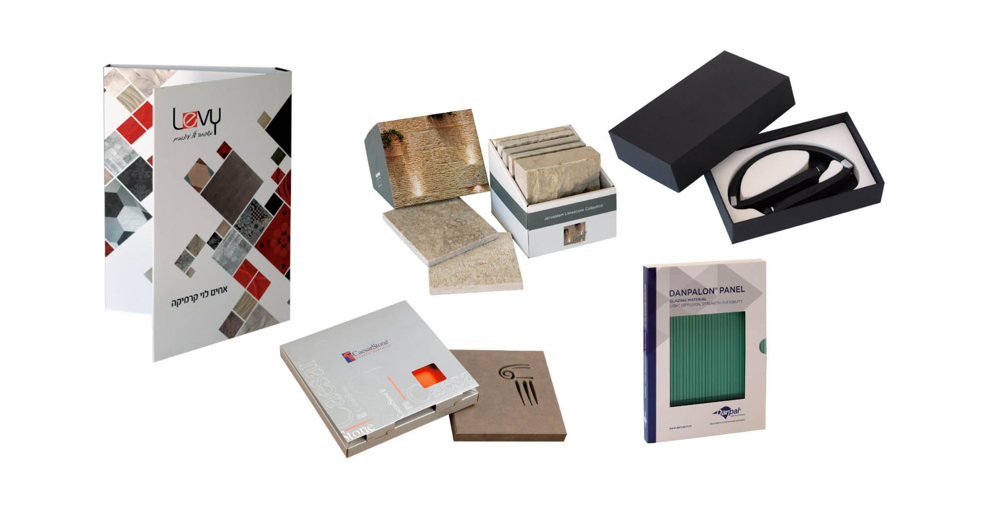 מארזים וקופסאות של דוגמאות ממותגות בהתאמה אישית עם מסגרות צורניות מקרטון קשיח דחוס, קרטון גלי, קרטון דופלקס
