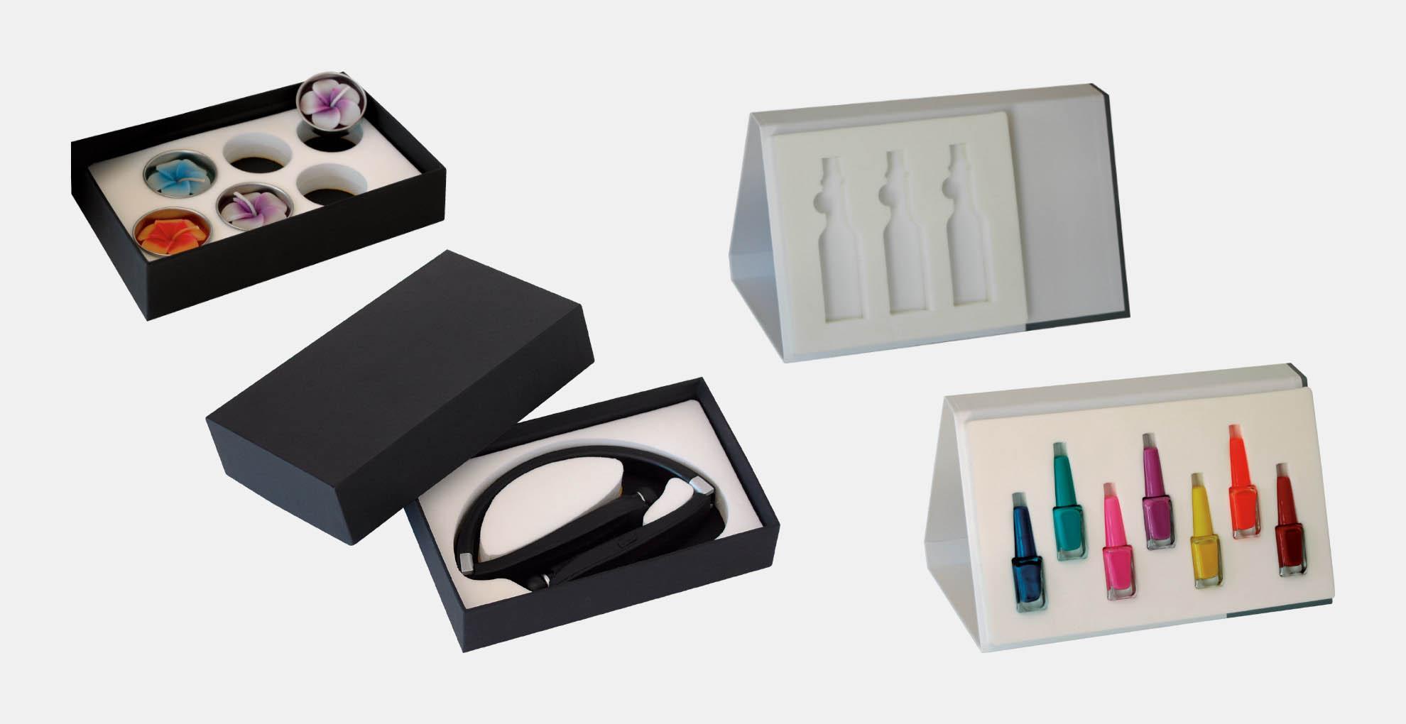 קופסא מארז דוגמאות סטנד מעמד שולחני ממותג בהתאמה אישית מקרטון קשיח דחוס עם מסגרת צורנית להצגת דוגמאות